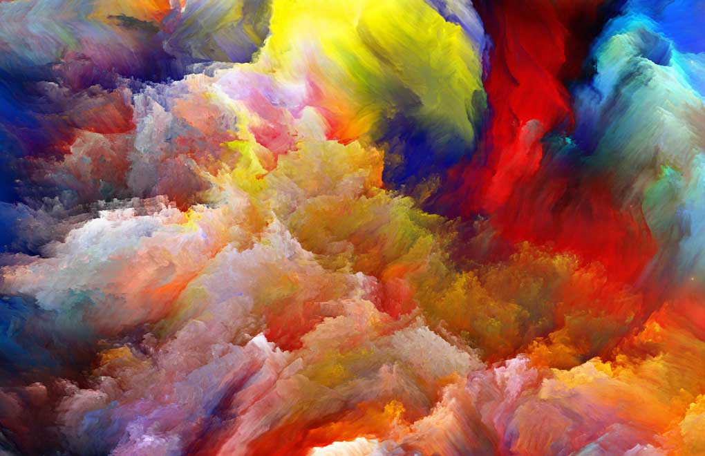 Colorful abstract painting with many bright colors forming dynamic cloud shapes.