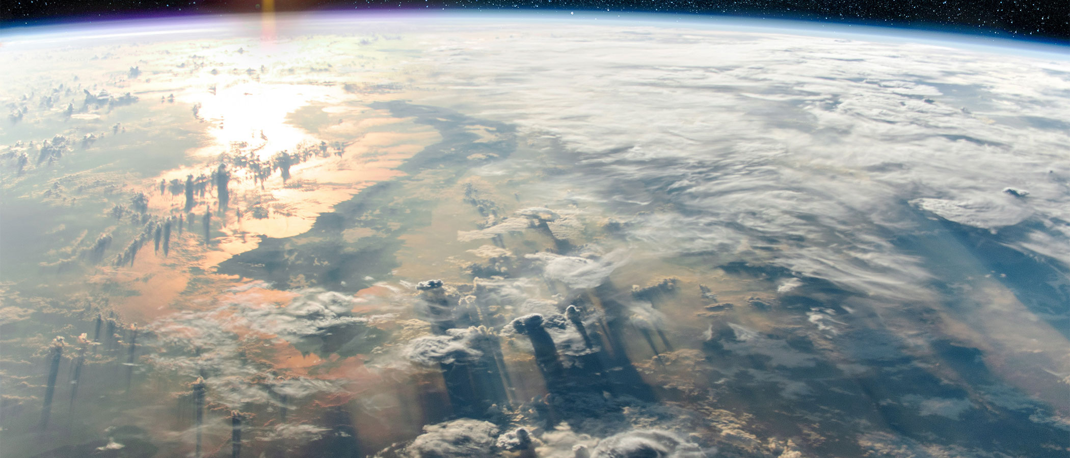 Swirling clouds in earth's atmosphere as viewed from space.
