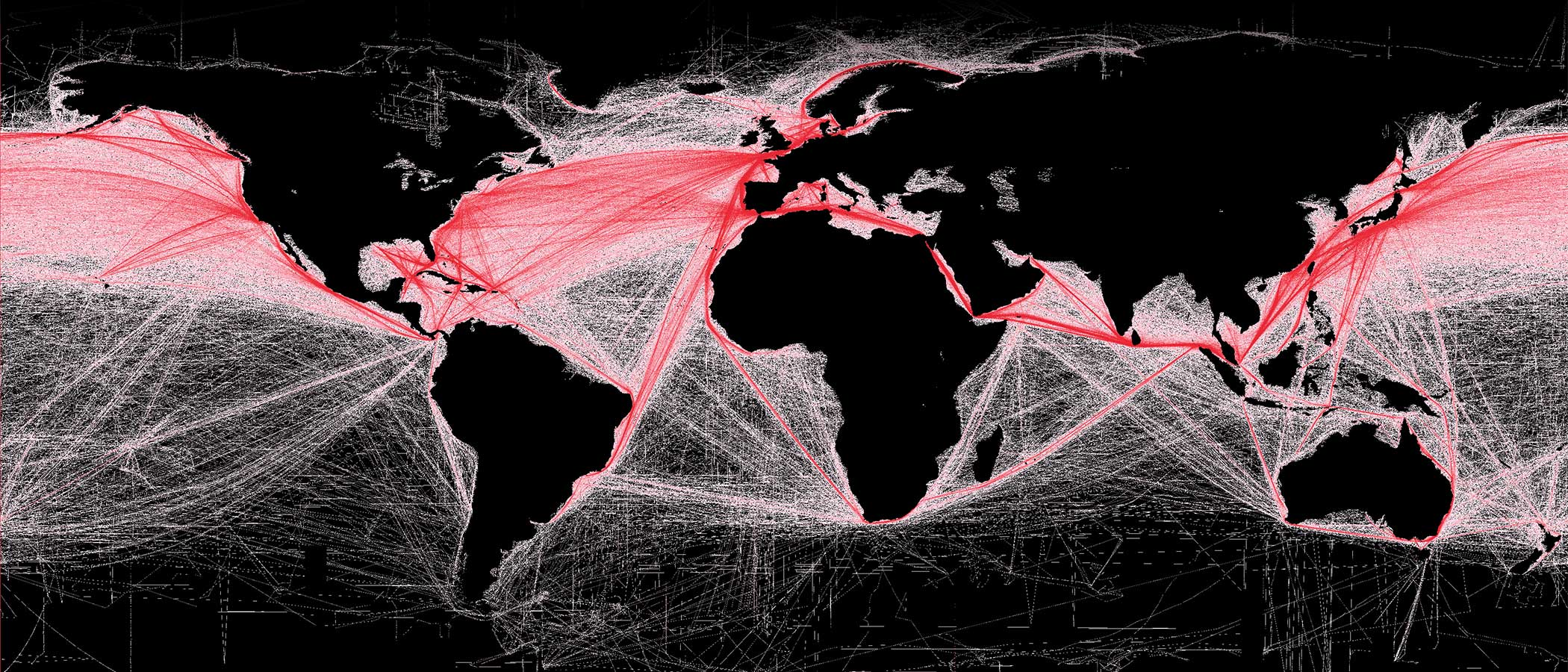 Map of global commercial shipping routes.