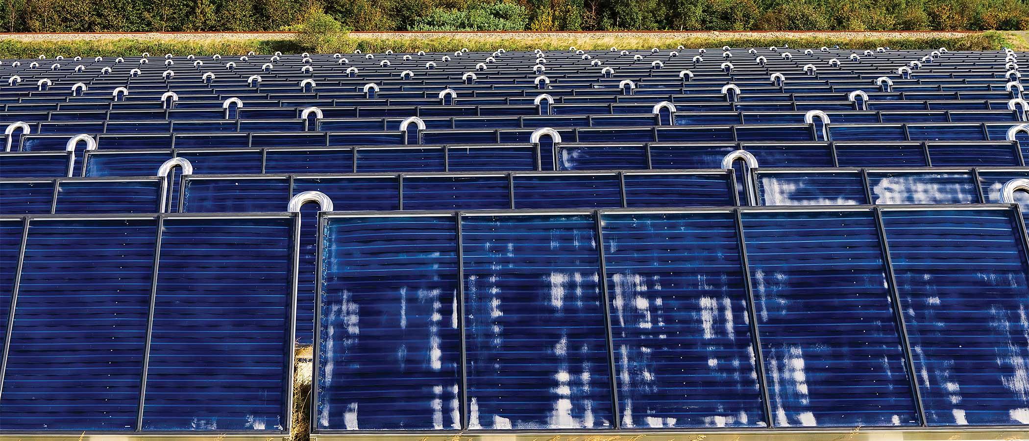 A solar water array in Esbjerg, Denmark.
