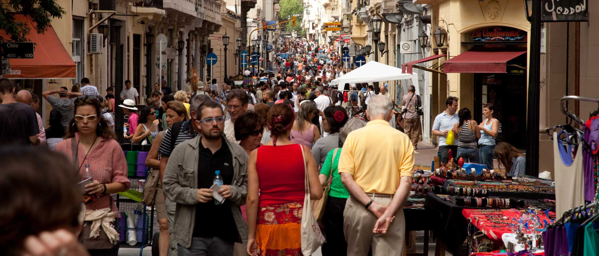 Many people walking on a pedestrian alley in Buenos Aires, Argentina.