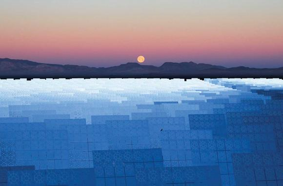 A 110-megawatt solar thermal plant located near Tonopah, Nevada.